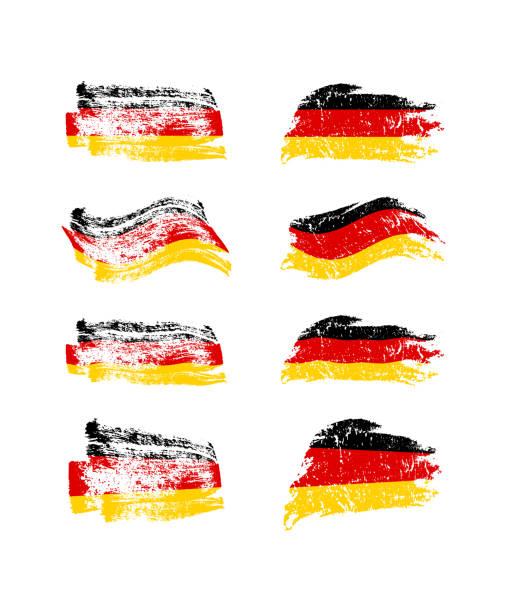 ilustraciones, imágenes clip art, dibujos animados e iconos de stock de conjunto vintage bandera alemana. vector pintados con las banderas de cepillo de alemania. - bandera alemana