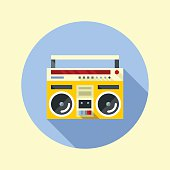 Vintage ghetto blaster boombox. Hipster icons series.