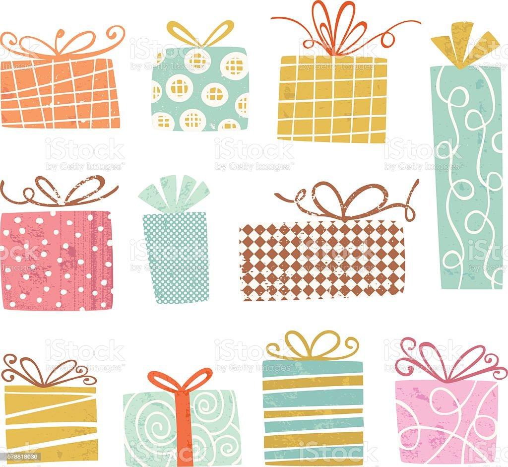 Vintage gift Boxes vector art illustration
