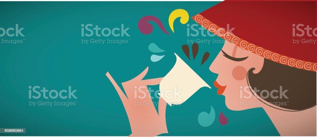 Vintage girl drinking coffee - flat illustration - illustrazione arte vettoriale