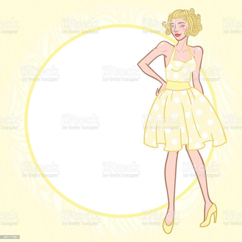 Vintage girl in dotted dress vector art illustration