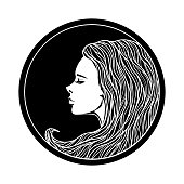 Vintage Girl Portrait in Circle Frame.