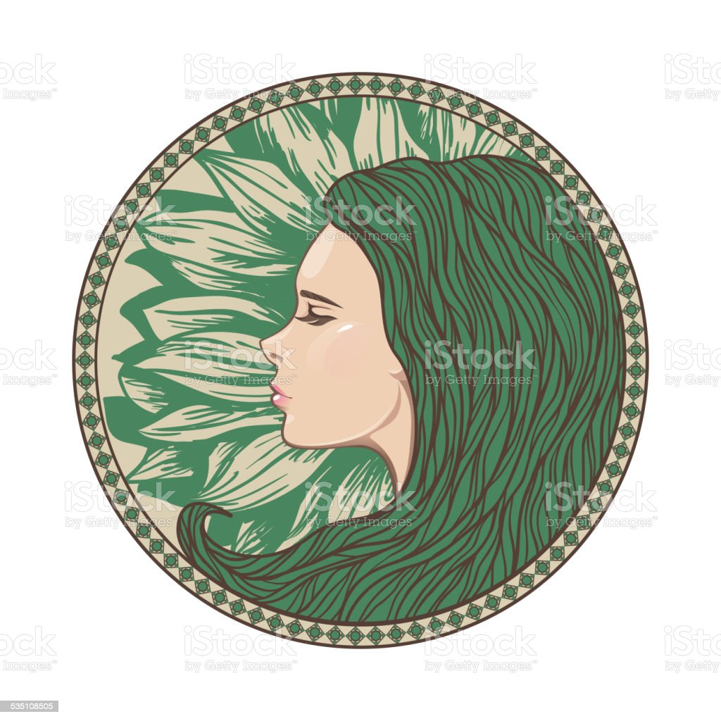 Vintage Girl Portrait in Ornate Circle Frame vector art illustration
