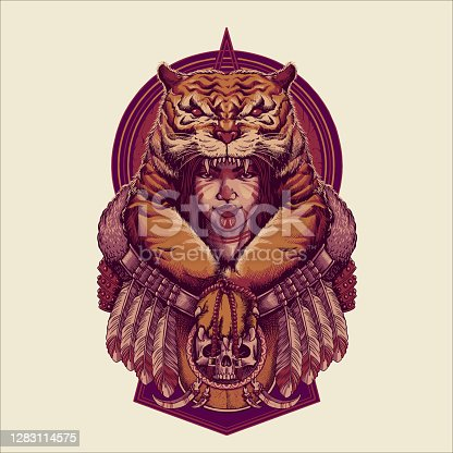 istock Vintage Girl Tigers Mystical Custom Vector Illustrations for your work merchandise clothing line, stickers and poster, greeting cards advertising business company or brands 1283114575