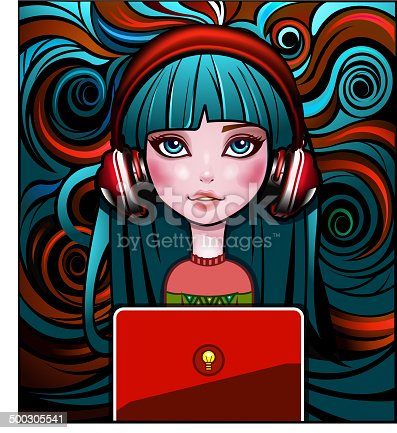 istock Vintage Girl with laptop 500305541