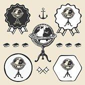 Vintage globe ancient symbol emblem label collection set