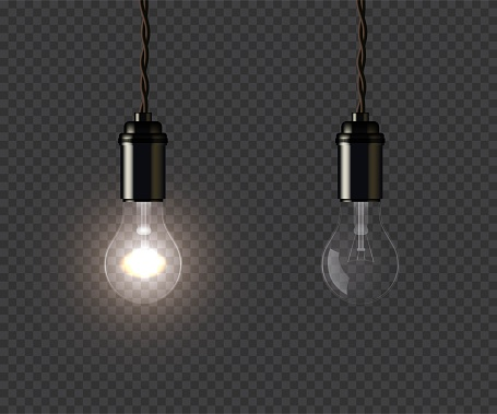 Vintage glowing and extinguished lamps holding on wire on dark transparent background. Vector isolated design element.