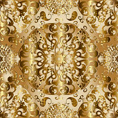 Vintage gold 3d vector Paisley seamless pattern. Golden round mandala. Ornamental luxury surface background. Floral lace ornaments with paisley flowers, leaves, swirls. Modern decorative ornate design