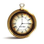 Vintage gold ancient pocket watch
