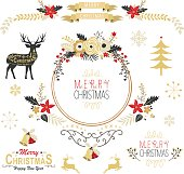 A vector illustration of Vintage Gold Christmas Elements.  Perfect for Christmas, Greeting Card, Happy New Year, Celebration, and many more.