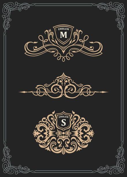 vintage gold-emblem-set. schnörkel crest kalligraphische verzierung - monogrammarten stock-grafiken, -clipart, -cartoons und -symbole