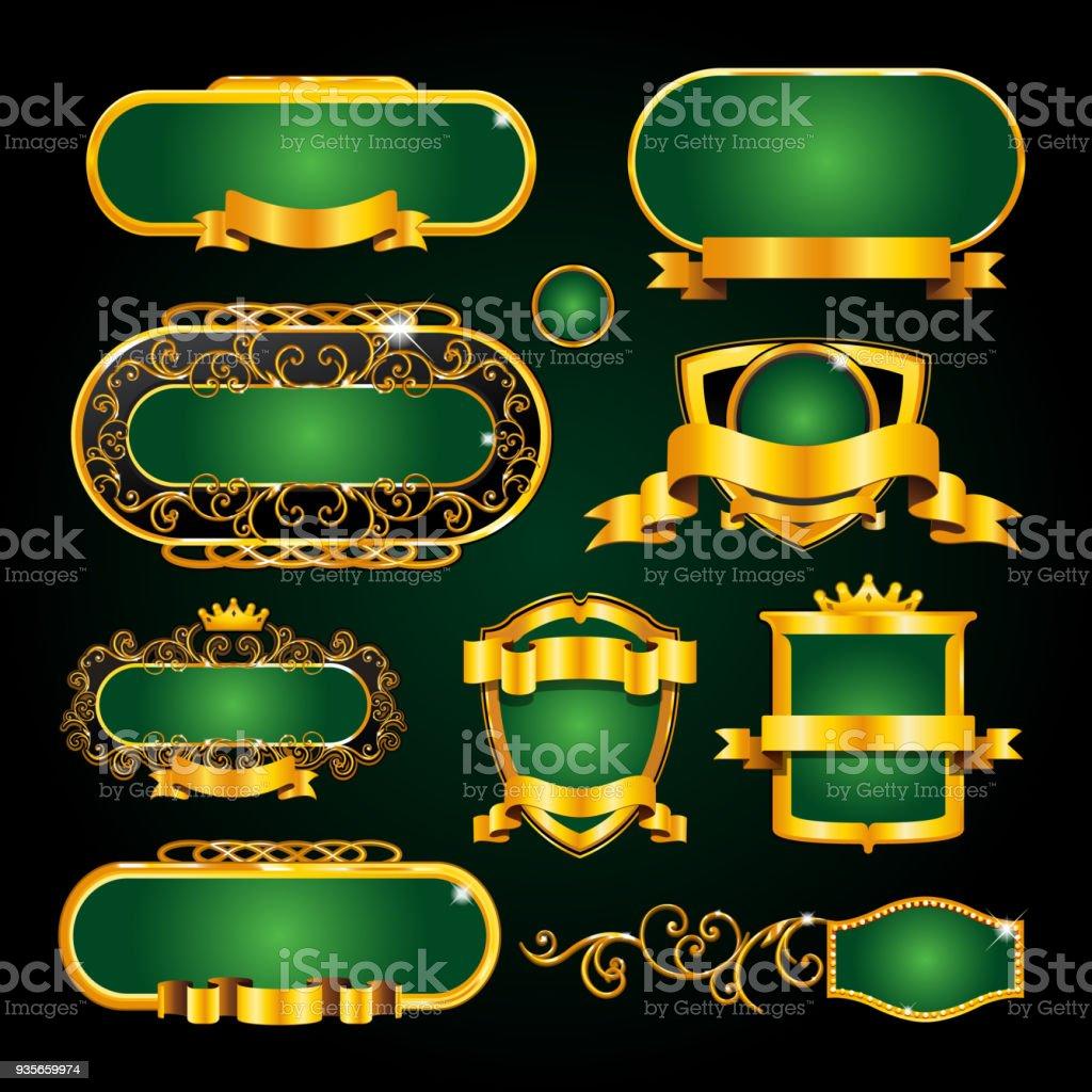Vintage Goldrahmen Auf Schwarzem Hintergrund Stock Vektor Art und ...
