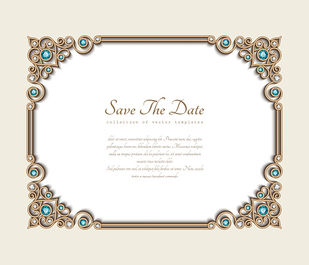 Vintage gold frame with jewelry corner patterns