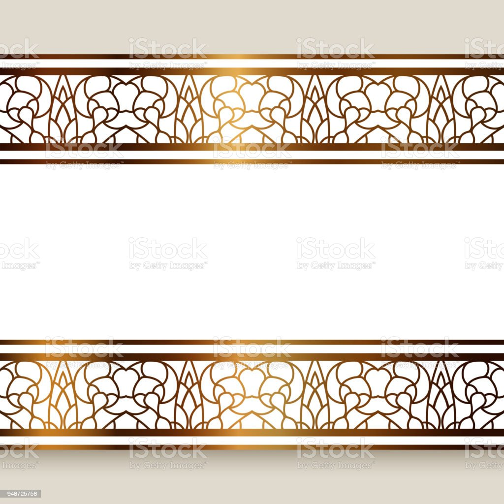 Vintage Gold Frame With Ornamental Borders Stock Vector Art More