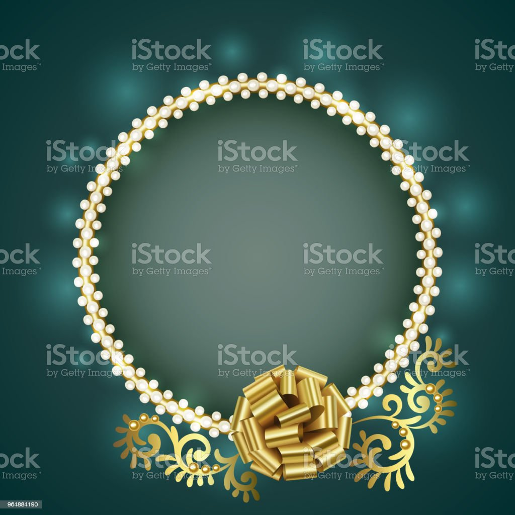 Vintage gold frame with white pearls and gold bow royalty-free vintage gold frame with white pearls and gold bow stock vector art & more images of abstract