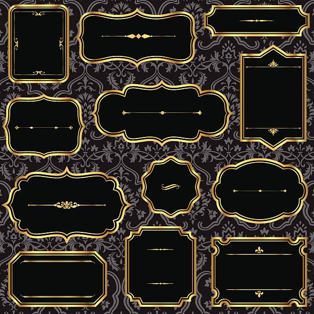 ilustraciones, imágenes clip art, dibujos animados e iconos de stock de oro vintage frames on damask background - marcos decorativos