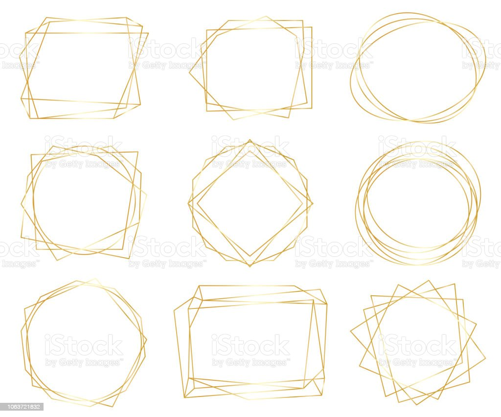 Vintage Gold Geometric Frames Pack Decorative Luxury Line