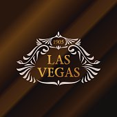 Vintage gold hipster label with lettering Las Vegas. icon template for your sign, poster, clothing, badge