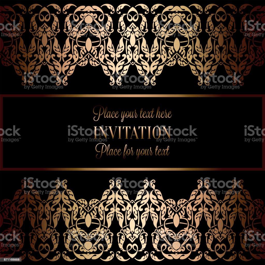 Invitación Vintage Gold O La Tarjeta De Boda En Divisor Cabecera ...