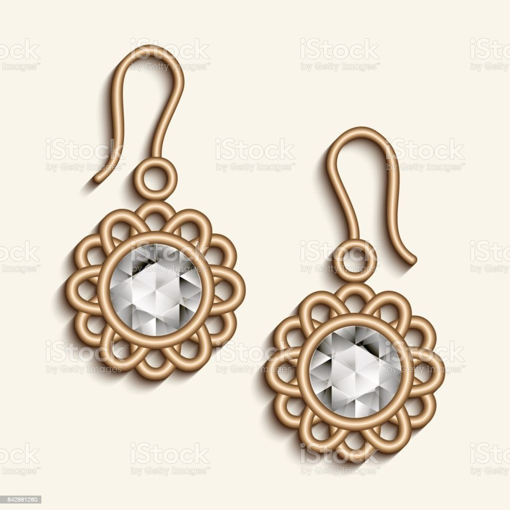 Vintage Gold Jewelry Earrings with Diamonds vector art illustration