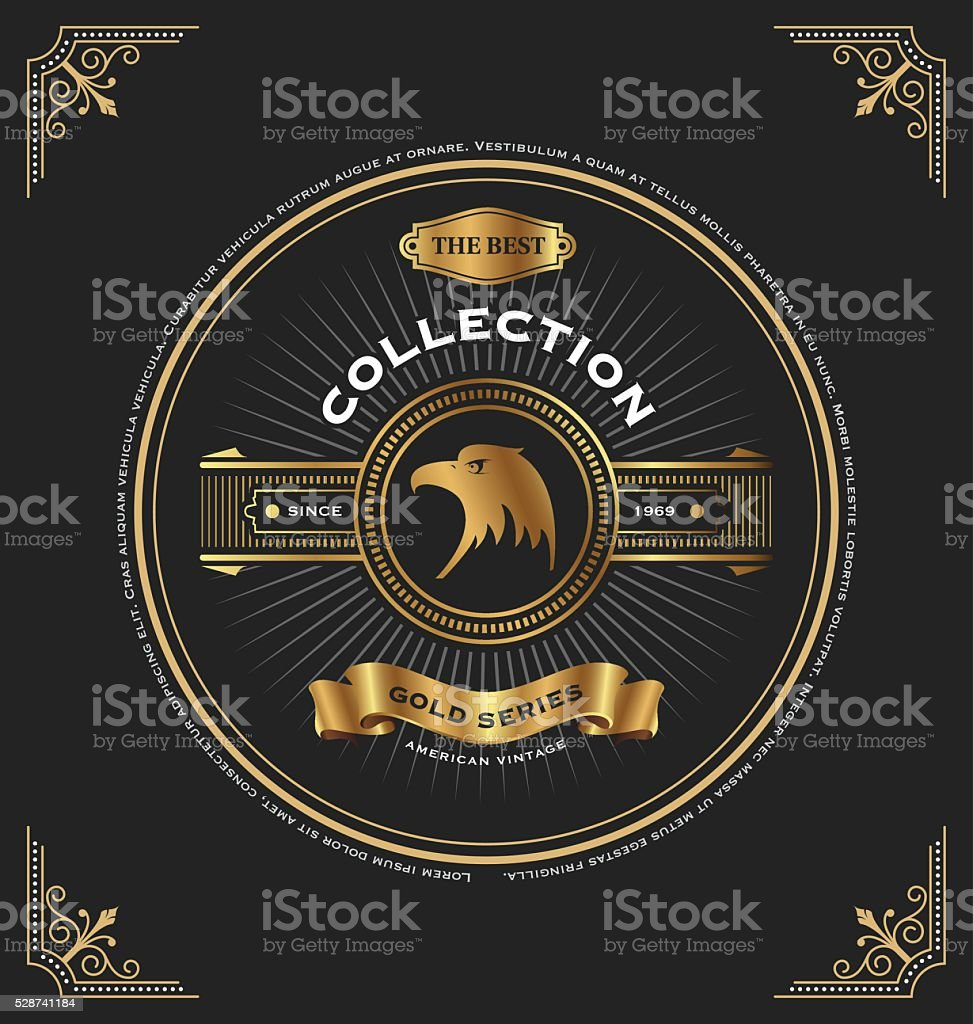 Vintage gold series cd cover template design stock vector for Cd case artwork template