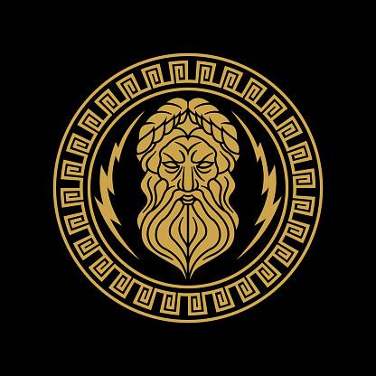 vintage golden circular greek thunder god zeus vector icon