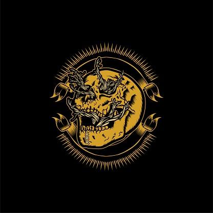 Vintage Golden Skull Branch Badge Tattoo And T-shirt Design Illustration