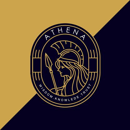vintage golden thin line greek goddess athena holding a spear vector icon