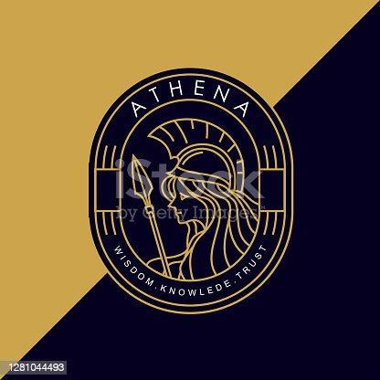istock vintage golden thin line greek goddess athena holding a spear vector icon 1281044493