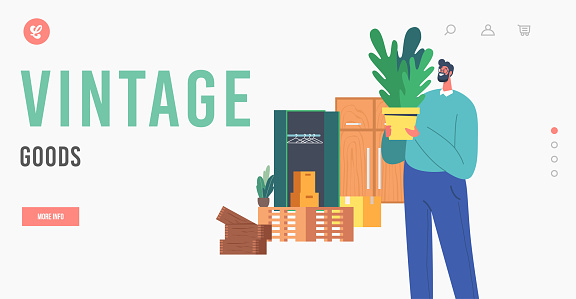Vintage Goods Landing Page Template. Mature Man Look Home Plant on Flea Market. Male Character Shopping on Garage Sale
