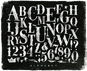 Vintage gothic alphabet chalk
