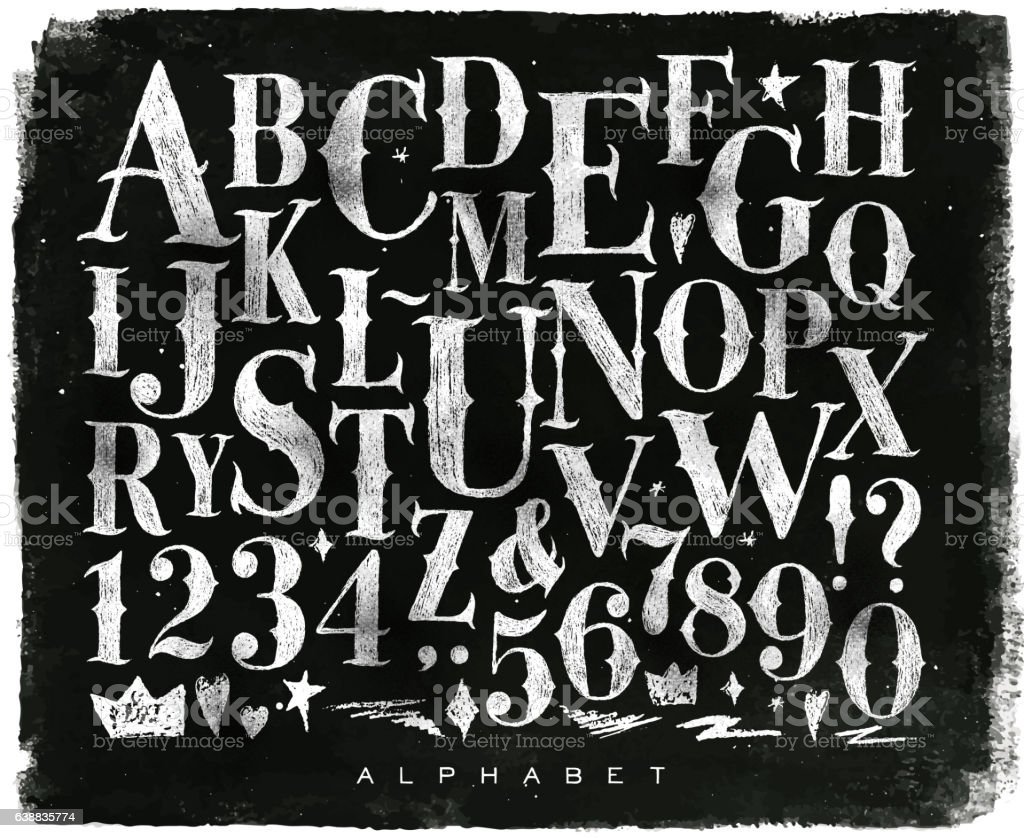 Vintage gothic alphabet chalk vector art illustration