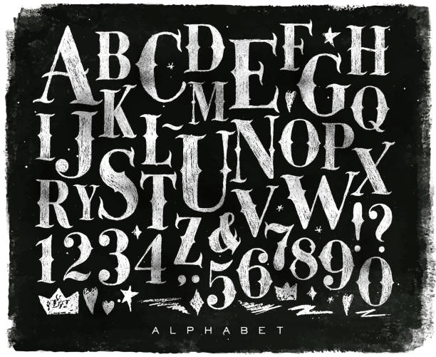 stockillustraties, clipart, cartoons en iconen met vintage gothic alphabet chalk - bord bericht