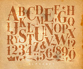 Vintage gothic font in retro style drawing on craft background