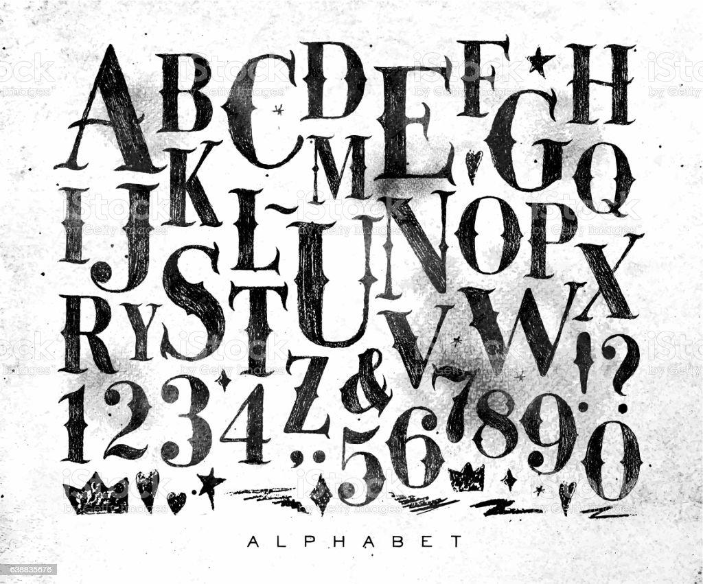 Vintage gothic alphabet vector art illustration