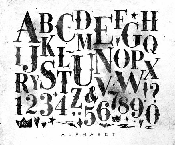 vintage gothic alphabet - グランジフレーム点のイラスト素材/クリップアート素材/マンガ素材/アイコン素材