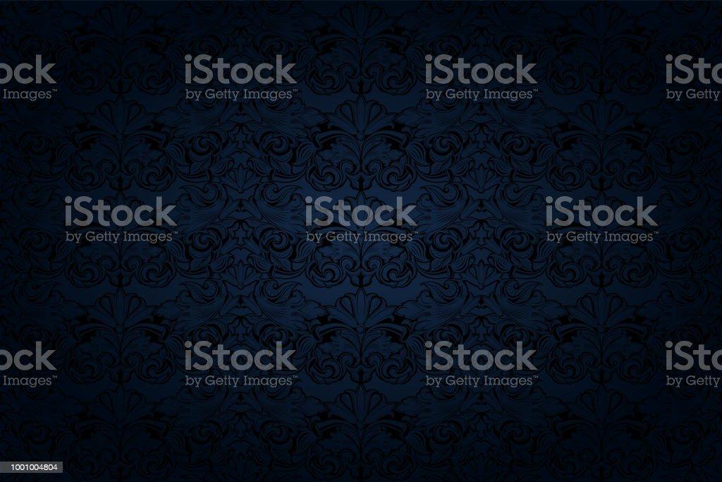 vintage Gothic background in dark blue and black vector art illustration