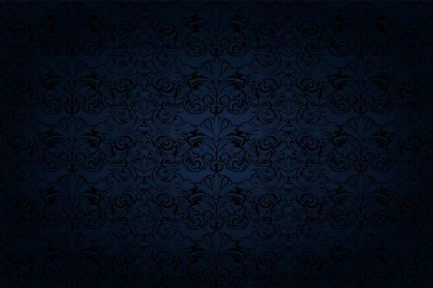 illustrazioni stock, clip art, cartoni animati e icone di tendenza di vintage gothic background in dark blue and black - blu scuro