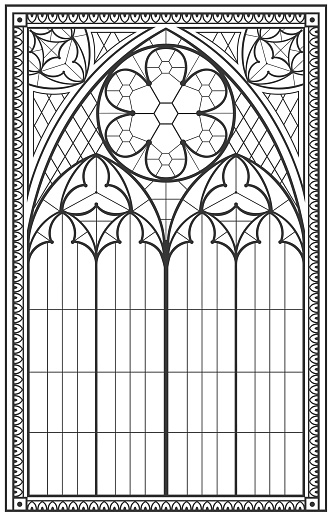 Vintage gothic background with arch outline drawing