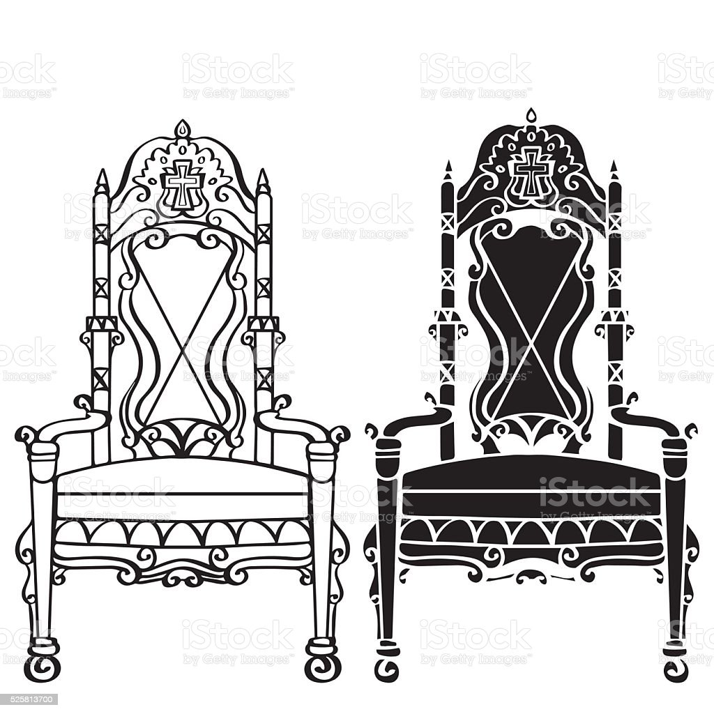 Vintage gothic chair armchair throne stock vector art for Throne chair plans
