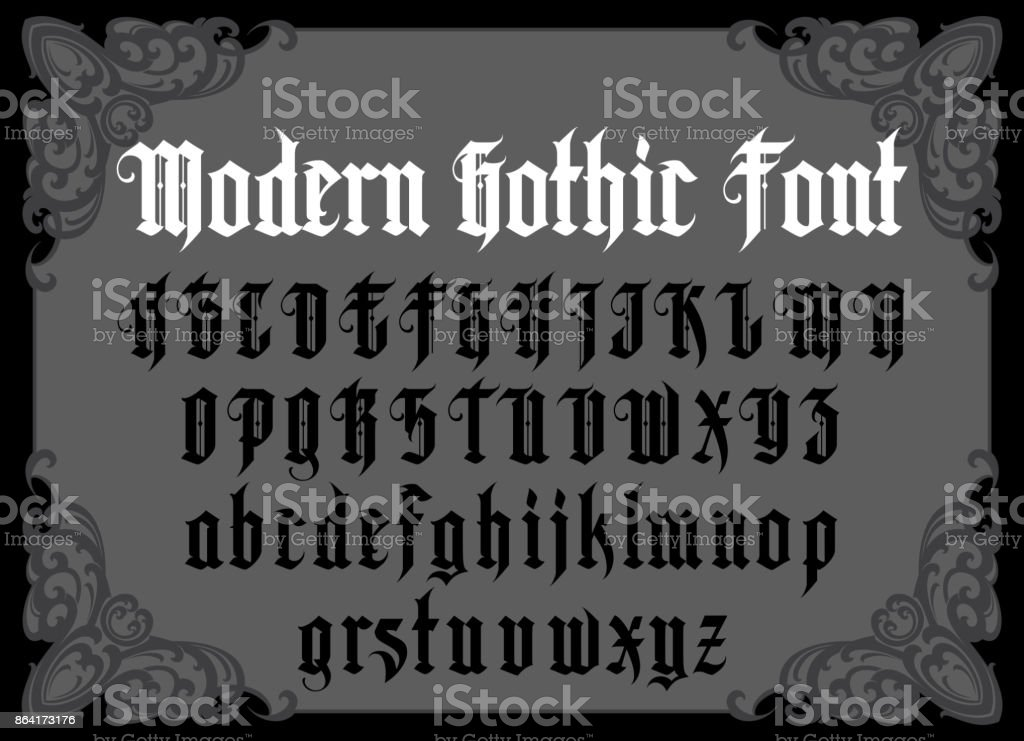 Vintage gothic font stock vector art more images of alphabet