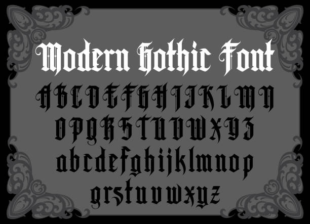 Vintage gothic font Vector modern gothic alphabet in frame. Vintage font. Typography for labels, headlines, posters etc. goth stock illustrations