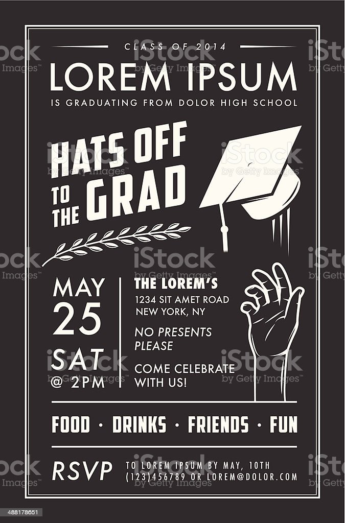 vintage graduation party invitation card stock vector art more