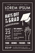 Vintage graduation party invitation card