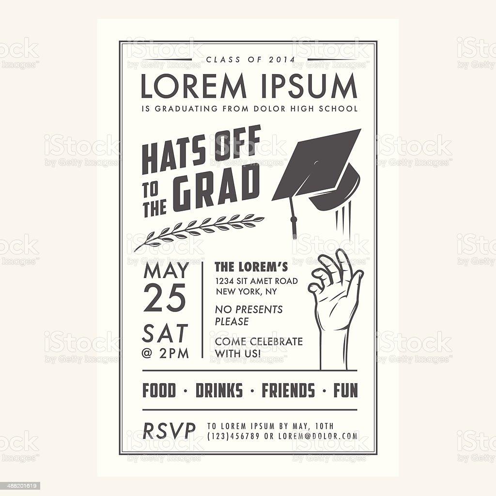 Vintage Abschlussfeier Party Einladung Karte Lizenzfreies Vektor  Illustration