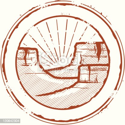 Stylized vintage stamp of the Grand Canyon. Great for an outdoorsy look.