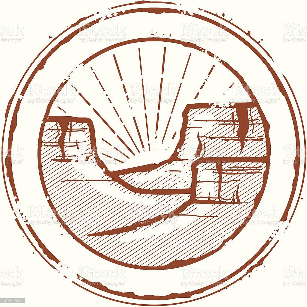 Vintage Grand Canyon Stamp vector art illustration