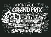 Vintage Grand Prix. Hand drawn grunge vintage illustration with hand lettering and a retro car. This illustration can be used as a print on t-shirts and bags, stationary or as a poster.