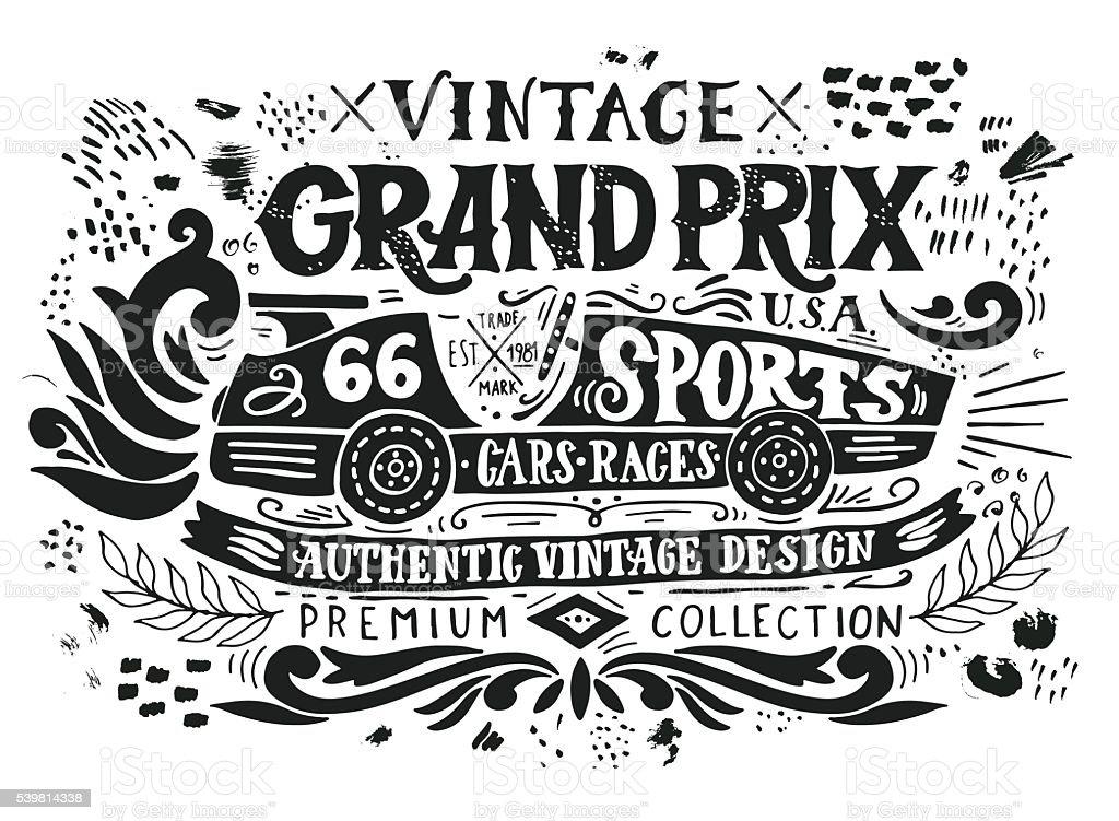 Vintage Grand Prix vector art illustration