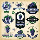 A collection of vintage styled grapes labels. EPS 10 file, layered & grouped, with meshes and transparencies (shadows & overall effects only).